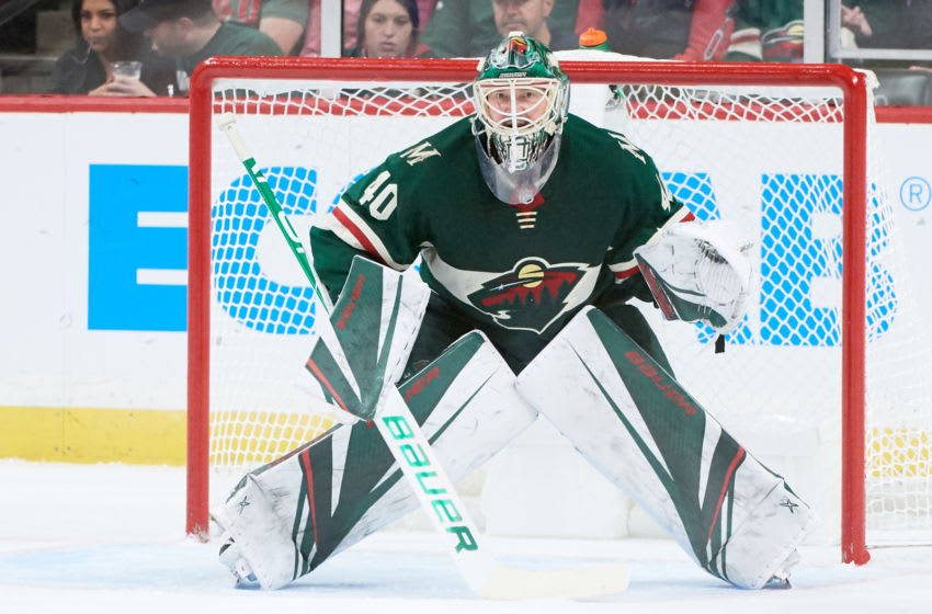 ST PAUL, MINNESOTA - OCTOBER 20: Devan Dubnyk #40 of the Minnesota Wild defends the net against the Montreal Canadiens during the game at Xcel Energy Center on October 20, 2019 in St Paul, Minnesota. The Wild defeated the Canadiens 4-3. (Photo by Hannah Foslien/Getty Images)