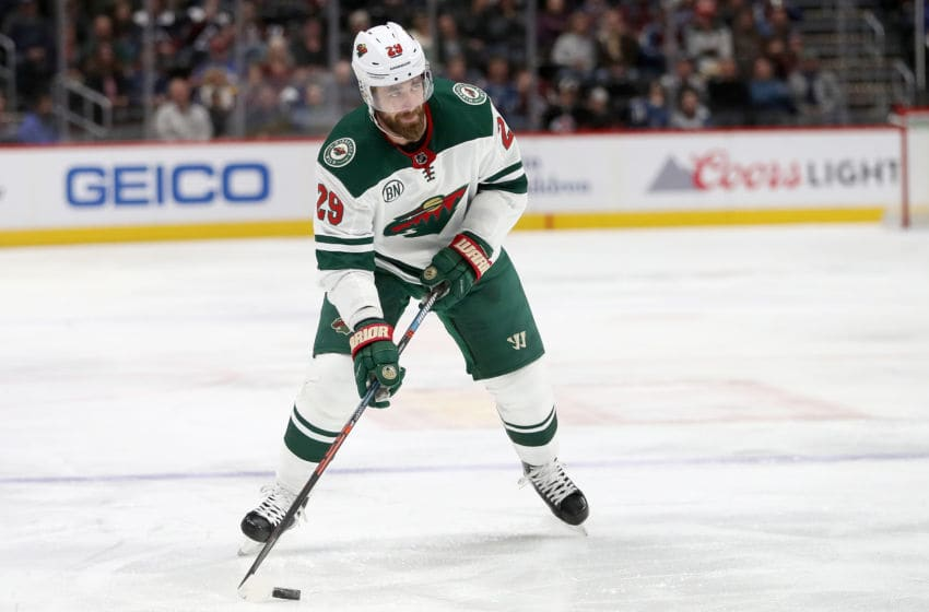 DENVER, COLORADO - JANUARY 23: Greg Pateryn #29 of the Minnesota Wild plays the Colorado Avalanche at the Pepsi Center on January 23, 2019 in Denver, Colorado. (Photo by Matthew Stockman/Getty Images)