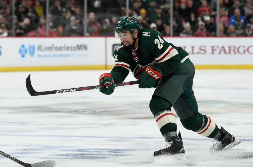 ST PAUL, MN - APRIL 15: Matt Dumba #24 of the Minnesota Wild shoots the puck against the Winnipeg Jets during the second period in Game Three of the Western Conference First Round during the 2018 NHL Stanley Cup Playoffs at Xcel Energy Center on April 15, 2018 in St Paul, Minnesota. (Photo by Hannah Foslien/Getty Images)