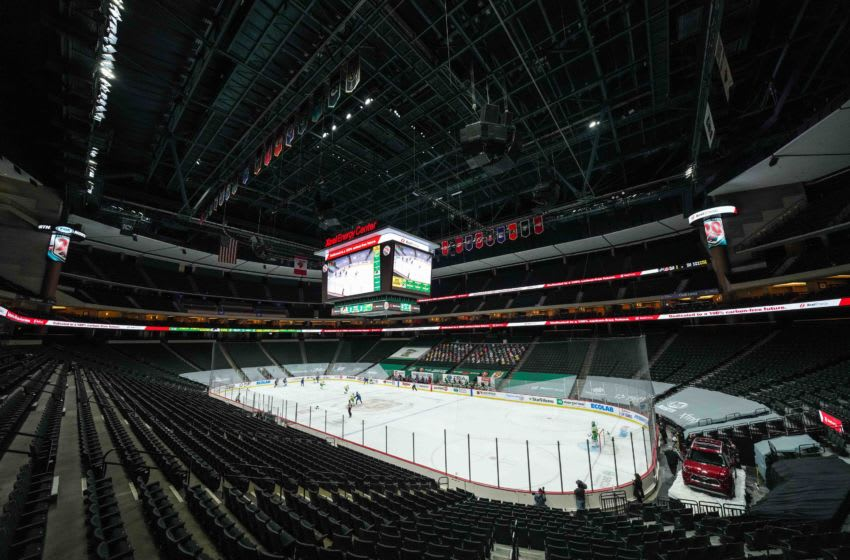 Jan 31, 2021; Saint Paul, Minnesota, USA; A general view of Xcel Energy Center during the third period of a game between the Minnesota Wild and Colorado Avalanche. Mandatory Credit: Brace Hemmelgarn-USA TODAY Sports