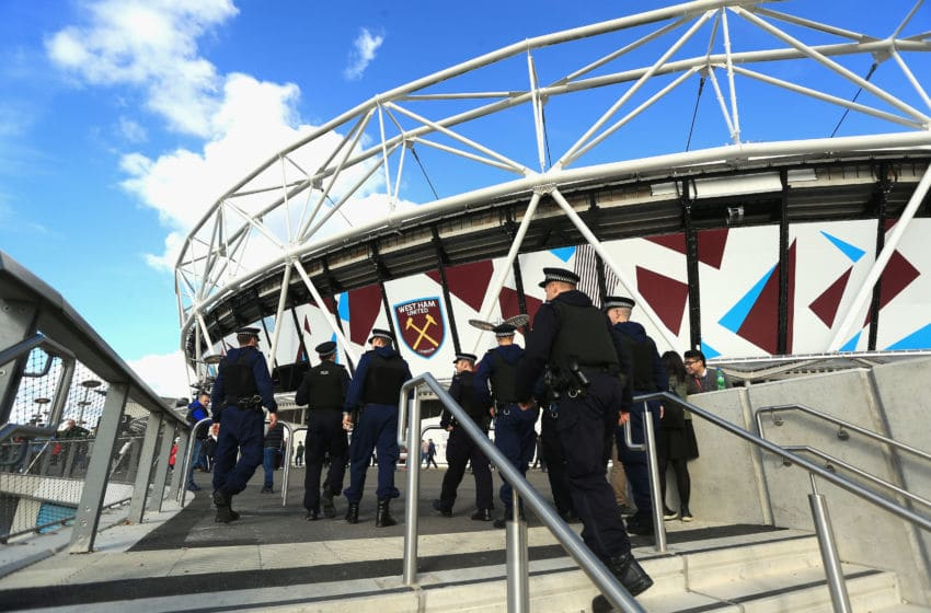 LONDON, ENGLAND - OCTOBER 22: Police men and women make their way into the stadium prior to kick off during the Premier League match between West Ham United and Sunderland at Olympic Stadium on October 22, 2016 in London, England. (Photo by Stephen Pond/Getty Images)