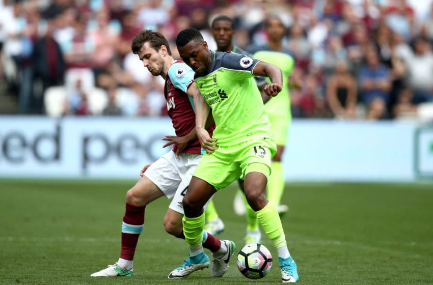 STRATFORD, ENGLAND - MAY 14: Havard Nordtveit of West Ham United and Daniel Sturridge of Liverpool compete for the ball during the Premier League match between West Ham United and Liverpool at London Stadium on May 14, 2017 in Stratford, England. (Photo by Jan Kruger/Getty Images)