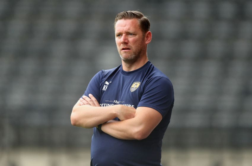 NOTTINGHAM, ENGLAND - JULY 21: Kevin Nolan, the Notts County manager looks on durng the pre-season friendly match between Notts County and Leicester City at Meadow Lane on July 21, 2018 in Nottingham, England. (Photo by David Rogers/Getty Images)