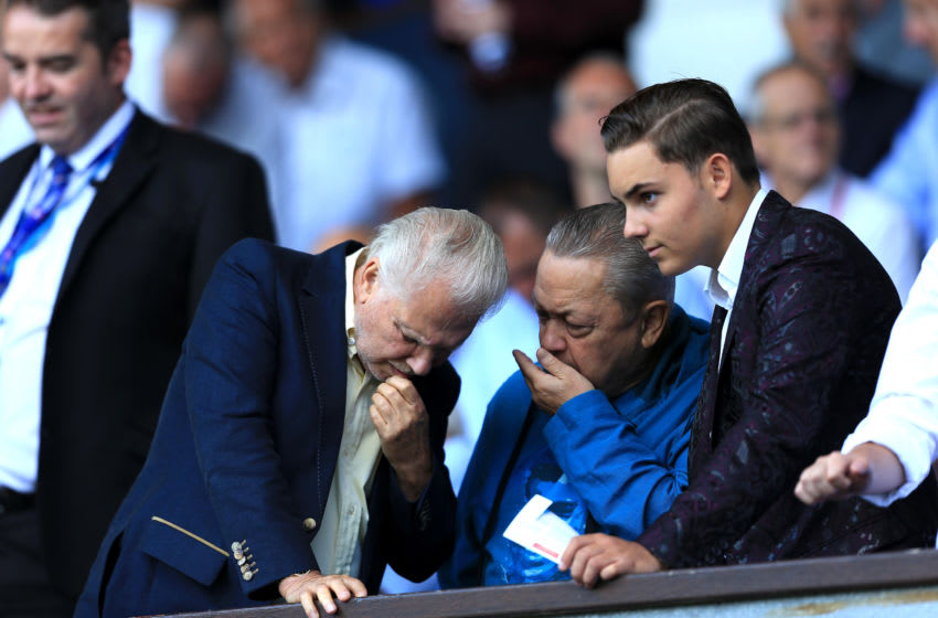 IPSWICH, ENGLAND - JULY 28: West Ham United Joint Chairmen David Gould, David Sullivan and his son Jack Sullivan look on during the pre-season friendly match between Ipswich Town and West Ham United at Portman Road on July 28, 2018 in Ipswich, England. (Photo by Stephen Pond/Getty Images)