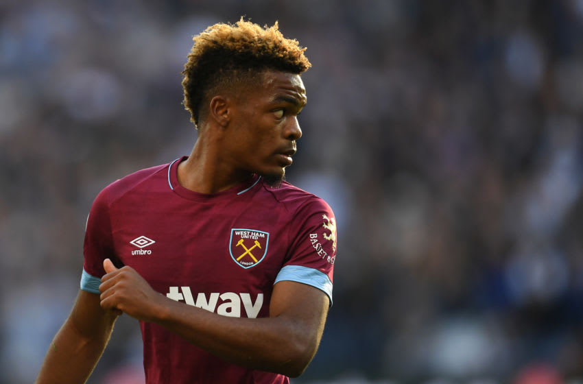 LONDON, ENGLAND - OCTOBER 20: Grady Diangana of West Ham United look on during the Premier League match between West Ham United and Tottenham Hotspur at London Stadium on October 20, 2018 in London, United Kingdom. (Photo by Mike Hewitt/Getty Images)