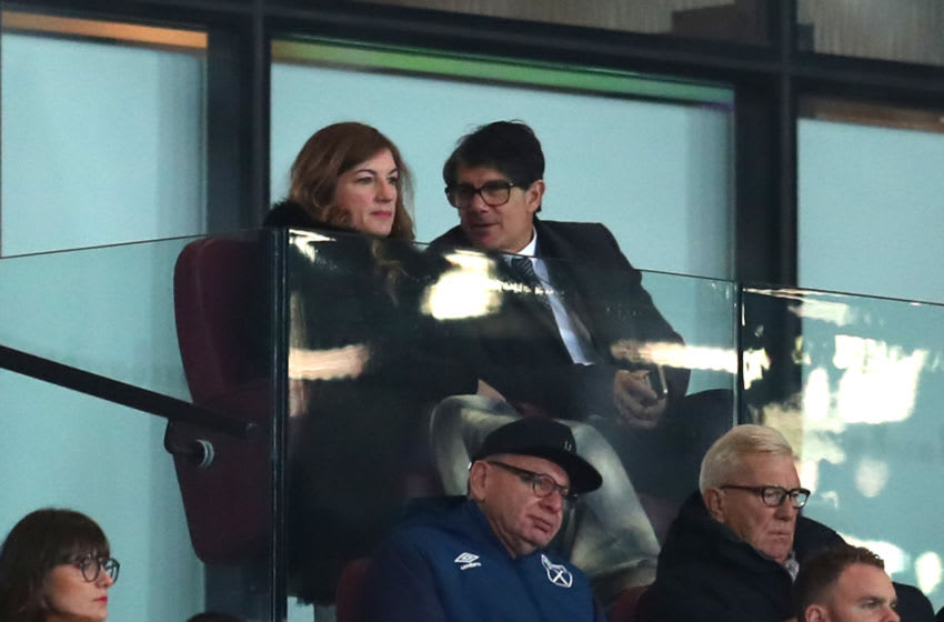 LONDON, ENGLAND - OCTOBER 31: Karren Brady, Vice-Chairman of West Ham United and her husband Paul Peschisolido are seen in the stands prior to the Carabao Cup Fourth Round match between West Ham United and Tottenham Hotspur at London Stadium on October 31, 2018 in London, England. (Photo by Catherine Ivill/Getty Images)