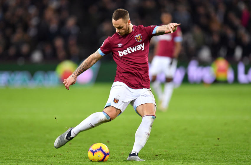 LONDON, ENGLAND - JANUARY 02: Marko Arnautovic of West Ham United shoots during the Premier League match between West Ham United and Brighton & Hove Albion at London Stadium on January 2, 2019 in London, United Kingdom. (Photo by Justin Setterfield/Getty Images)