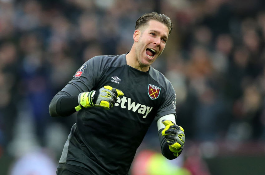 LONDON, ENGLAND - JANUARY 05: Adrian of West Ham United celebrates his sides second goal during the FA Cup Third Round match between West Ham United and Birmingham City at The London Stadium on January 5, 2019 in London, United Kingdom. (Photo by Alex Morton/Getty Images)