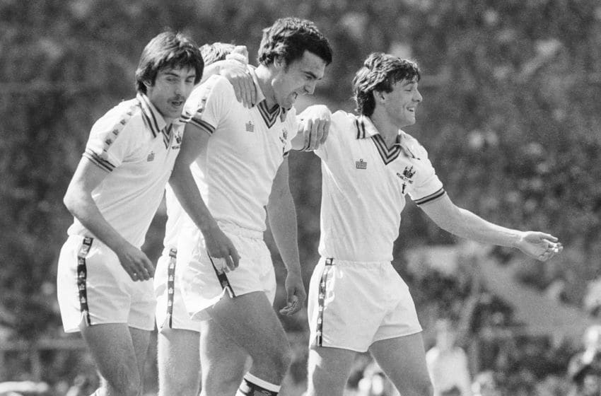 LONDON, ENGLAND - 1980. FA Cut Final West Ham v Arsenal at Wembley Stadium Trevor Brooking after scoring the only goal of the match.11/05/1980. (Photo by David Ashdown/Getty Images)
