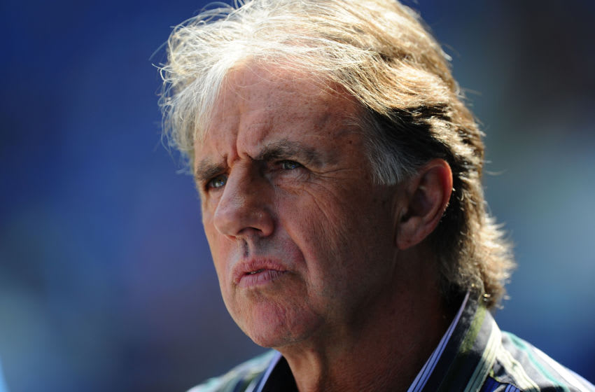 CARDIFF, WALES - APRIL 23: Football pundit Mark Lawrenson looks on before the npower Championship game between Cardiff City and Queens Park Rangers at Cardiff City Stadium on April 23, 2011 in Cardiff, Wales. (Photo by Stu Forster/Getty Images)