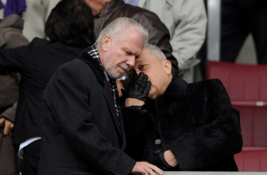 WIGAN, ENGLAND - MAY 15: West Ham United Joint Chairmen David Sullivan and David Gold (L) chat prior to the Barclays Premier League match between Wigan Athletic and West Ham United at the DW Stadium on May 15, 2011 in Wigan, England. (Photo by Chris Brunskill/Getty Images)