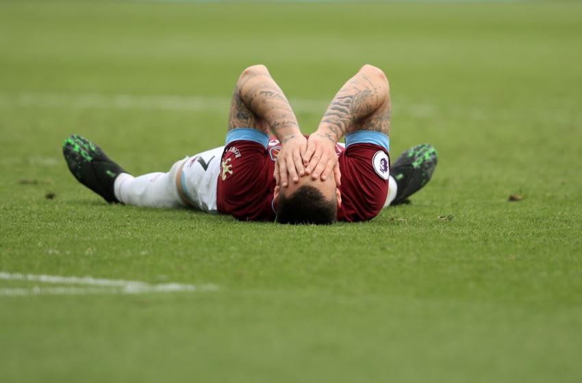LONDON, ENGLAND - MAY 04: Marko Arnautovic of West Ham United reacts during the Premier League match between West Ham United and Southampton FC at London Stadium on May 04, 2019 in London, United Kingdom. (Photo by Marc Atkins/Getty Images)