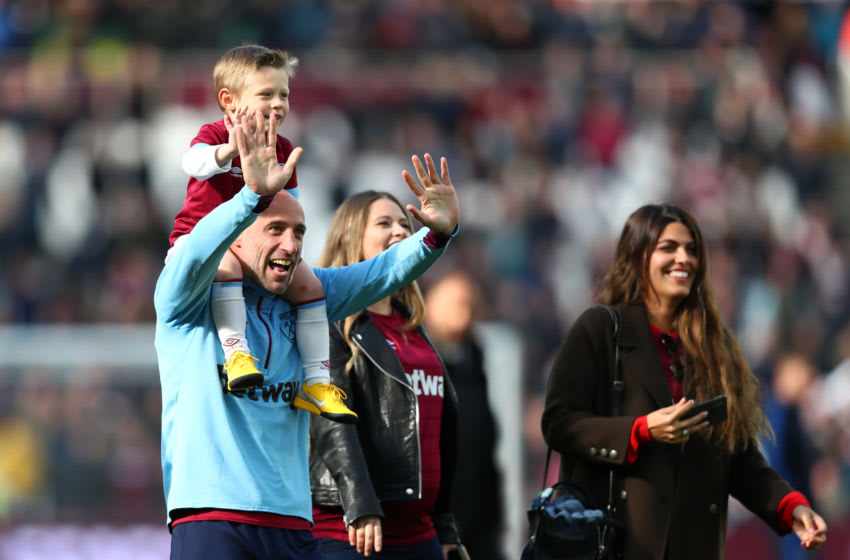 LONDON, ENGLAND - MAY 04: Pablo Zabaleta of West Ham United is seen with his children during a lap of appreciation after the Premier League match between West Ham United and Southampton FC at London Stadium on May 04, 2019 in London, United Kingdom. (Photo by Dan Istitene/Getty Images)