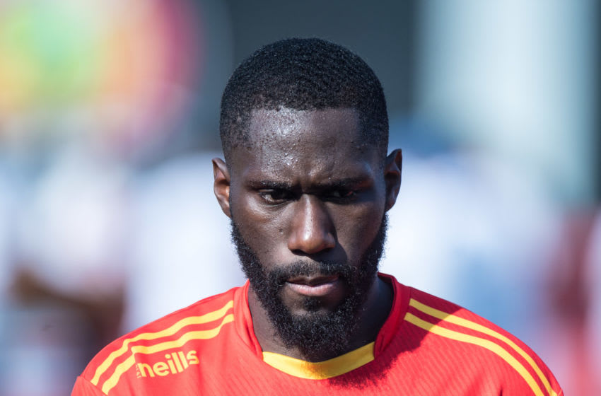West Ham's Arthur Masuaku is on his back to England after picking up a knee injury while on international duty with DR Congo. (Photo by Sebastian Frej/MB Media/Getty Images)