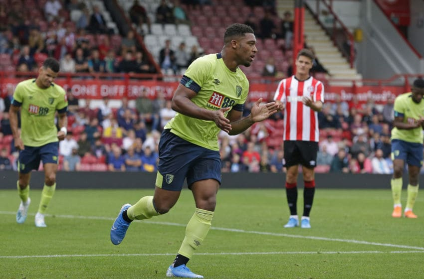 BRENTFORD, ENGLAND - JULY 27: Jordan Ibe of AFC Bournemouth celebrates after scoring their first goal during the Pre-Season Friendly match between Brentford FC and AFC Bournemouth at Griffin Park on July 27, 2019 in Brentford, England. (Photo by Henry Browne/Getty Images)