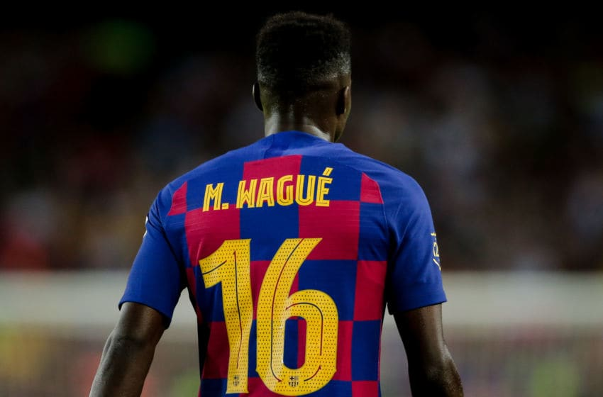 BARCELONA, SPAIN - AUGUST 4: Moussa Wague of FC Barcelona during the Club Friendly match between FC Barcelona v Arsenal at the Camp Nou on August 4, 2019 in Barcelona Spain (Photo by Erwin Spek/Soccrates/Getty Images)