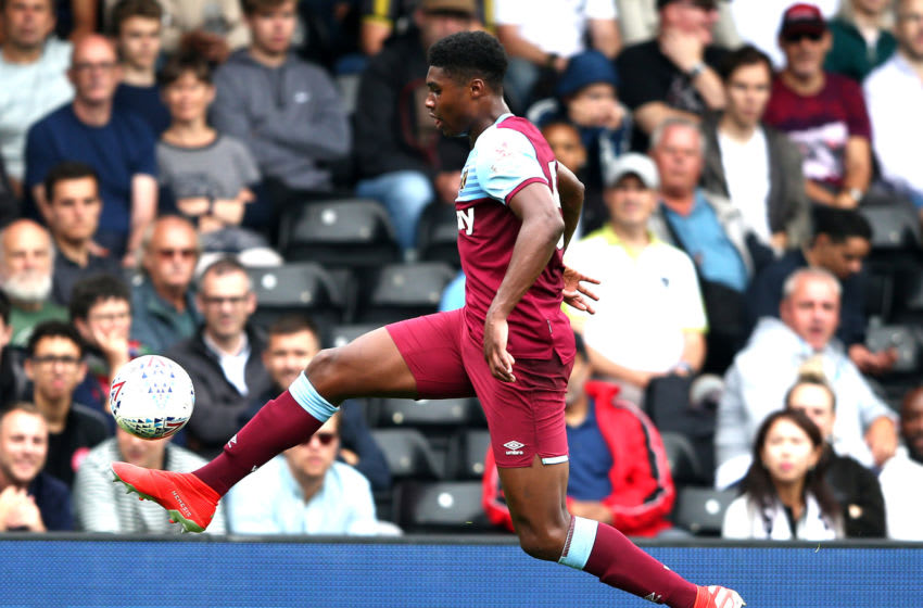 LONDON, ENGLAND - JULY 27: Ben Johnson of West Ham in action during the Pre-Season Friendly match between West Ham United and Fulham at Craven Cottage on July 27, 2019 in London, England. (Photo by Warren Little/Getty Images)