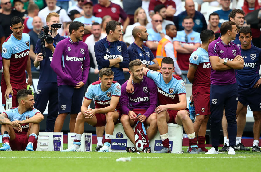 LONDON, ENGLAND - AUGUST 03: Jack Wilshire and Declan Rice of West Ham enjoy watching the penalty shoot out during the Pre-Season Friendly match between West Ham United and Athletic Bilbao at the Olympic Stadium on August 03, 2019 in London, England. (Photo by Julian Finney/Getty Images)