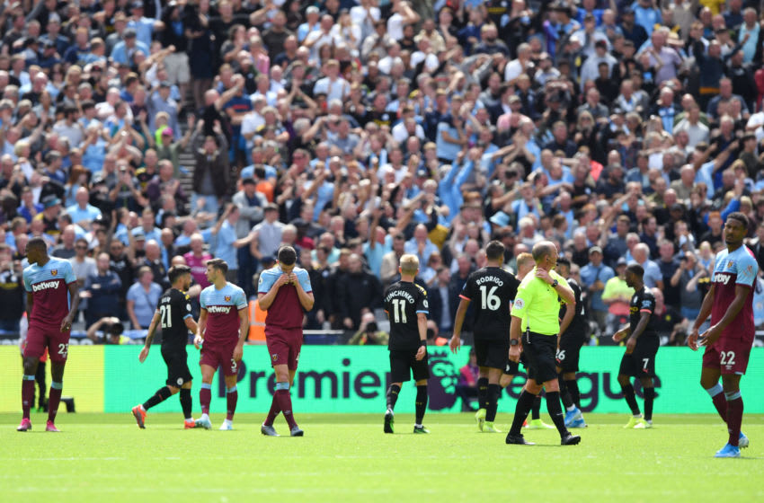 LONDON, ENGLAND - AUGUST 10: Declan Rice of West Ham United looks dejected after his team concede during the Premier League match between West Ham United and Manchester City at London Stadium on August 10, 2019 in London, United Kingdom. (Photo by Shaun Botterill/Getty Images)
