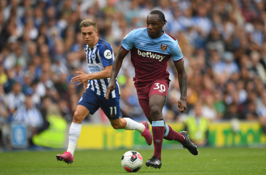BRIGHTON, ENGLAND - AUGUST 17: Michail Antonio of West Ham United in action during the Premier League match between Brighton & Hove Albion and West Ham United at American Express Community Stadium on August 17, 2019 in Brighton, United Kingdom. (Photo by Mike Hewitt/Getty Images)