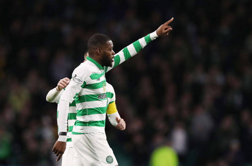 GLASGOW, SCOTLAND - SEPTEMBER 25: Olivier Ntcham of Celtic celebrates scoring his team's third goal during the Betfred Scottish League Cup quarter final match between Celtic and Partick Thistle at Celtic Park on September 25, 2019 in Glasgow, Scotland. (Photo by Ian MacNicol/Getty Images)