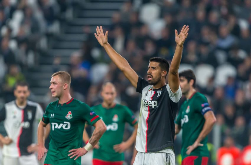 TURIN, ITALY - OCTOBER 22: Sami Khedira of Juventus Turin gestures during the UEFA Champions League group D match between Juventus and Lokomotiv Moskva at Juventus Arena on October 22, 2019 in Turin, Italy. (Photo by TF-Images/Getty Images)