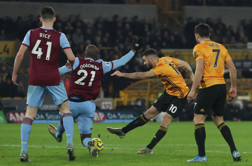 WOLVERHAMPTON, ENGLAND - DECEMBER 04: Patrick Cutrone of Wolverhampton Wanderers scores his team's second goal during the Premier League match between Wolverhampton Wanderers and West Ham United at Molineux on December 04, 2019 in Wolverhampton, United Kingdom. (Photo by David Rogers/Getty Images)