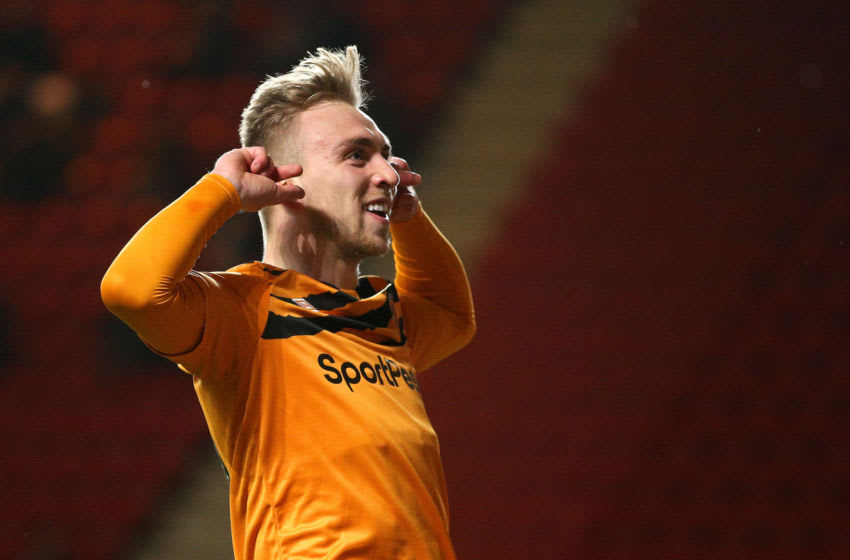 LONDON, ENGLAND - DECEMBER 13: Jarrod Bowen of Hull City celebrates after scoring his team's first goal during the Sky Bet Championship match between Charlton Athletic and Hull City at The Valley on December 13, 2019 in London, England. (Photo by James Chance/Getty Images)