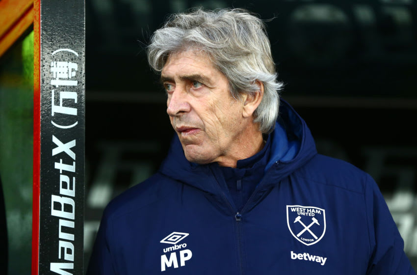 LONDON, ENGLAND - DECEMBER 26: Manuel Pellegrini, Manager of West Ham United looks on prior to the Premier League match between Crystal Palace and West Ham United at Selhurst Park on December 26, 2019 in London, United Kingdom. (Photo by Jordan Mansfield/Getty Images)