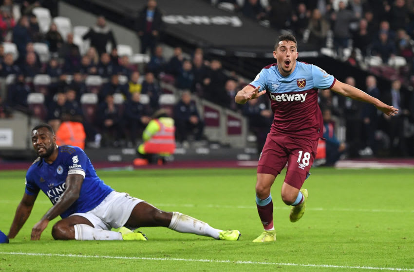 LONDON, ENGLAND - DECEMBER 28: Pablo Fornals of West Ham United celebrates after scoring his sides first goal during the Premier League match between West Ham United and Leicester City at London Stadium on December 28, 2019 in London, United Kingdom. (Photo by Michael Regan/Getty Images)