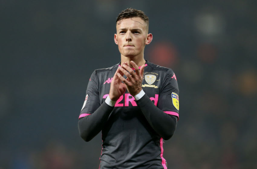 WEST BROMWICH, ENGLAND - JANUARY 01: Ben White of Leeds United reacts to the fans following the Sky Bet Championship match between West Bromwich Albion and Leeds United at The Hawthorns on January 01, 2020 in West Bromwich, England. (Photo by Lewis Storey/Getty Images)