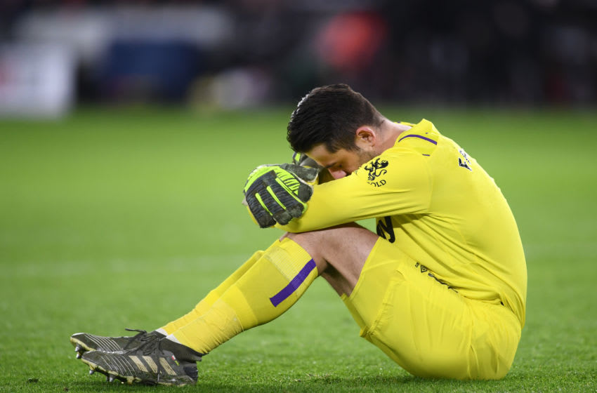 SHEFFIELD, ENGLAND - JANUARY 10: Lukasz Fabianski of West Ham United goes down injured during the Premier League match between Sheffield United and West Ham United at Bramall Lane on January 10, 2020 in Sheffield, United Kingdom. (Photo by Laurence Griffiths/Getty Images)