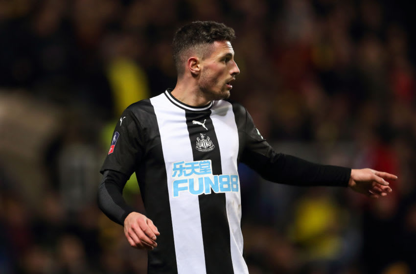 OXFORD, ENGLAND - FEBRUARY 04: Fabian Schar of Newcastle United during the FA Cup Fourth Round Replay match between Oxford United and Newcastle United at Kassam Stadium on February 4, 2020 in Oxford, England. (Photo by James Williamson - AMA/Getty Images)