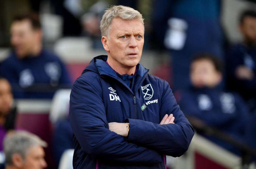 LONDON, ENGLAND - JANUARY 18: David Moyes, Manager of West Ham looks on during the Premier League match between West Ham United and Everton FC at London Stadium on January 18, 2020 in London, United Kingdom. (Photo by Justin Setterfield/Getty Images)