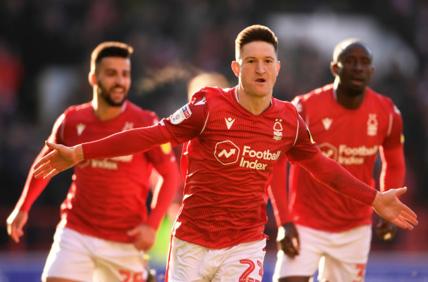 NOTTINGHAM, ENGLAND - JANUARY 19: Joe Lolley of Nottingham Forest celebrates after scoring his sides second goal during the Sky Bet Championship match between Nottingham Forest and Luton Town at the City Ground on January 19, 2020 in Nottingham, England. (Photo by Laurence Griffiths/Getty Images)