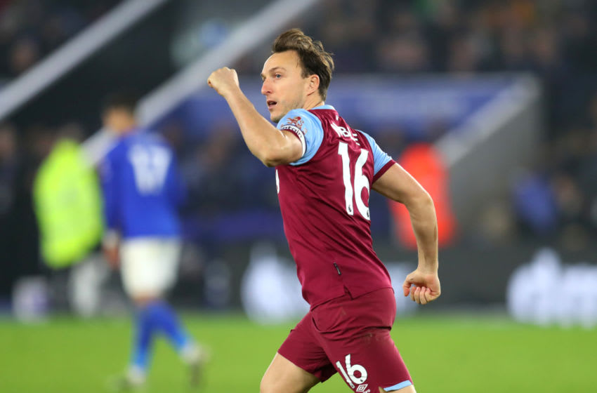 LEICESTER, ENGLAND - JANUARY 22: Mark Noble of West Ham United celebrates after scoring his team's first goal during the Premier League match between Leicester City and West Ham United at The King Power Stadium on January 22, 2020 in Leicester, United Kingdom. (Photo by Catherine Ivill/Getty Images)