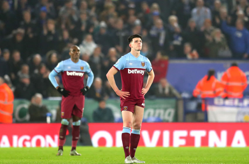 LEICESTER, ENGLAND - JANUARY 22: Declan Rice of West Ham United reacts after Leicester City's fourth goal during the Premier League match between Leicester City and West Ham United at The King Power Stadium on January 22, 2020 in Leicester, United Kingdom. (Photo by Catherine Ivill/Getty Images)