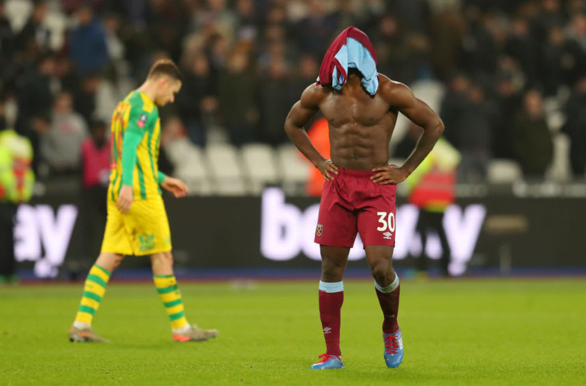 LONDON, ENGLAND - JANUARY 25: Michail Antonio of West Ham United looks dejected following the FA Cup Fourth Round match between West Ham United and West Bromwich Albion at The London Stadium on January 25, 2020 in London, England. (Photo by Catherine Ivill/Getty Images)