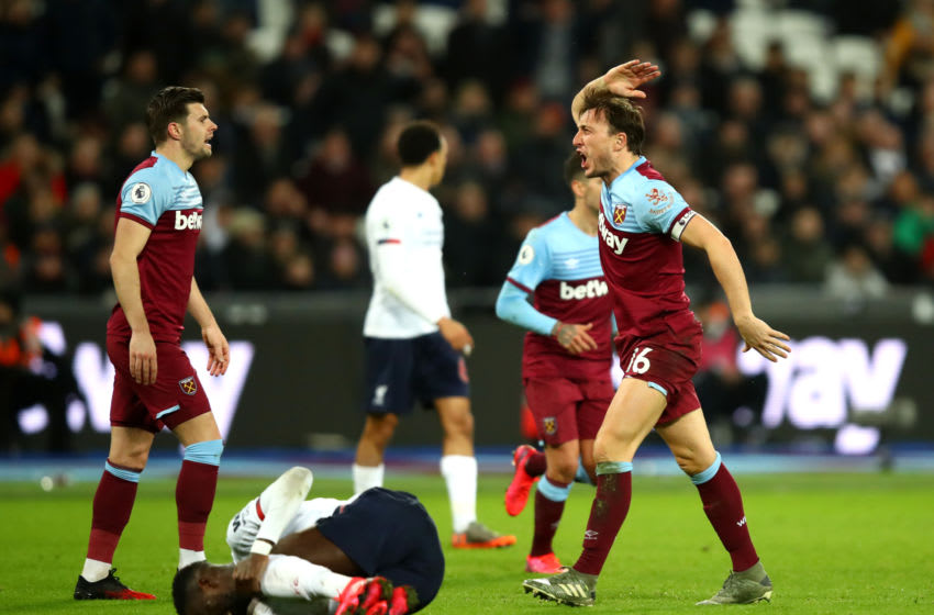 LONDON, ENGLAND - JANUARY 29: Mark Noble of West Ham United reacts after a foul during the Premier League match between West Ham United and Liverpool FC at London Stadium on January 29, 2020 in London, United Kingdom. (Photo by Julian Finney/Getty Images)