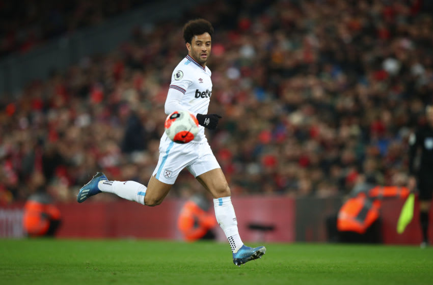 LIVERPOOL, ENGLAND - FEBRUARY 24: Felipe Anderson of West Ham United during the Premier League match between Liverpool FC and West Ham United at Anfield on February 24, 2020 in Liverpool, United Kingdom. (Photo by Robbie Jay Barratt - AMA/Getty Images)