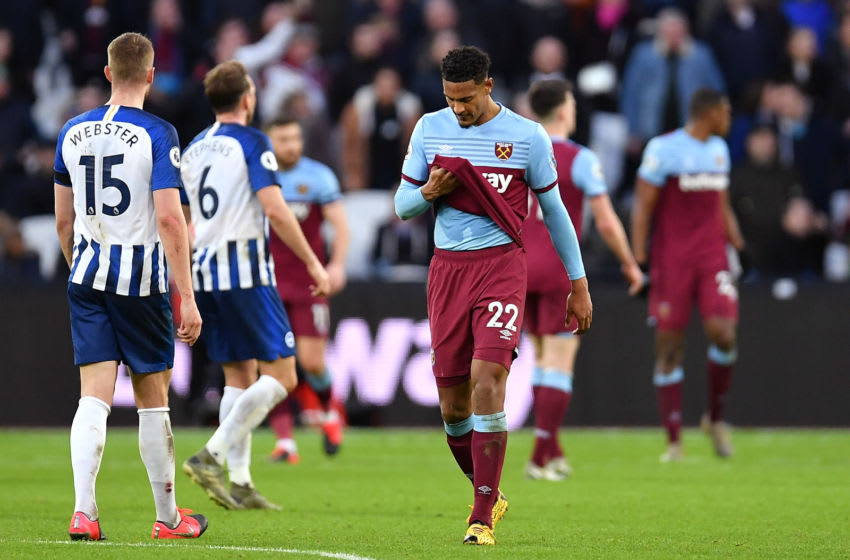 LONDON, ENGLAND - FEBRUARY 01: Sebastien Haller of West Ham United looks dejected after the 3rd Brighton goal during the Premier League match between West Ham United and Brighton & Hove Albion at London Stadium on February 01, 2020 in London, United Kingdom. (Photo by Justin Setterfield/Getty Images)