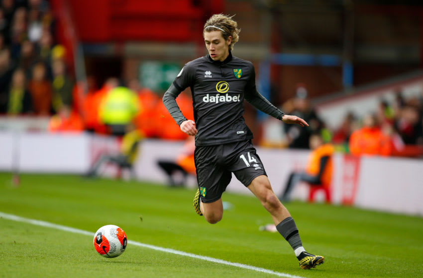 SHEFFIELD, ENGLAND - FEBRUARY 22: Todd Cantwell of Norwich City during the Premier League match between Sheffield United and Brighton & Hove Albion at Bramall Lane on February 22, 2020 in Sheffield, United Kingdom. (Photo by Ben Early - AMA/Getty Images)