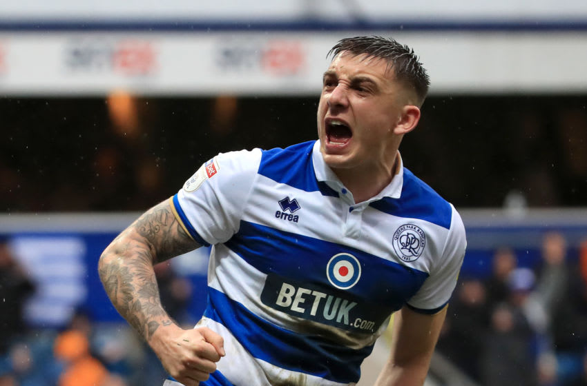 LONDON, ENGLAND - FEBRUARY 15: Jordan Hugill of Queens Park Rangers celebrates after scoring his team's first goal during the Sky Bet Championship match between Queens Park Rangers and Stoke City at The Kiyan Prince Foundation Stadium on February 15, 2020 in London, England. (Photo by Andrew Redington/Getty Images)