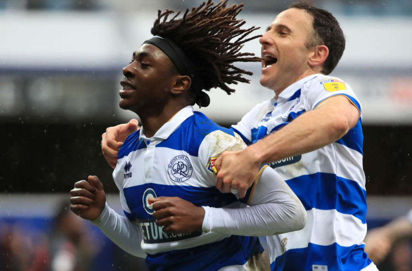 LONDON, ENGLAND - FEBRUARY 15: Eberechi Eze of Queens Park Rangers celebrates after scoring his team's second goal during the Sky Bet Championship match between Queens Park Rangers and Stoke City at The Kiyan Prince Foundation Stadium on February 15, 2020 in London, England. (Photo by Andrew Redington/Getty Images)