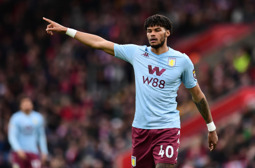 SOUTHAMPTON, ENGLAND - FEBRUARY 22: Tyrone Mings of Aston Villa gestures during the Premier League match between Southampton FC and Aston Villa at St Mary's Stadium on February 22, 2020 in Southampton, United Kingdom. (Photo by Alex Broadway/Getty Images)