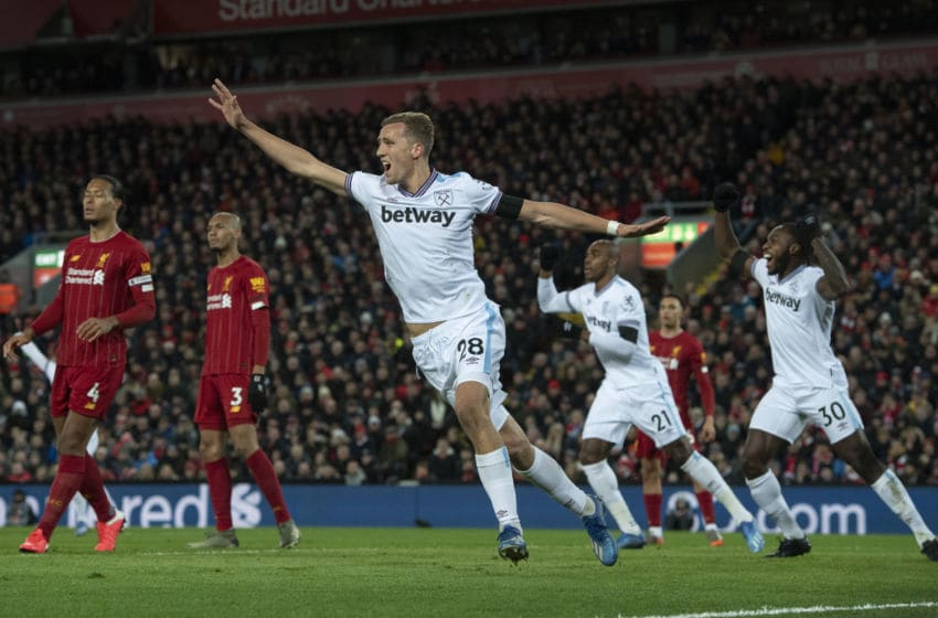 LIVERPOOL, ENGLAND - FEBRUARY 24: Tomas Soucek of West Ham United celebrates their first goal during the Premier League match between Liverpool FC and West Ham United at Anfield on February 24, 2020 in Liverpool, United Kingdom. (Photo by Visionhaus)