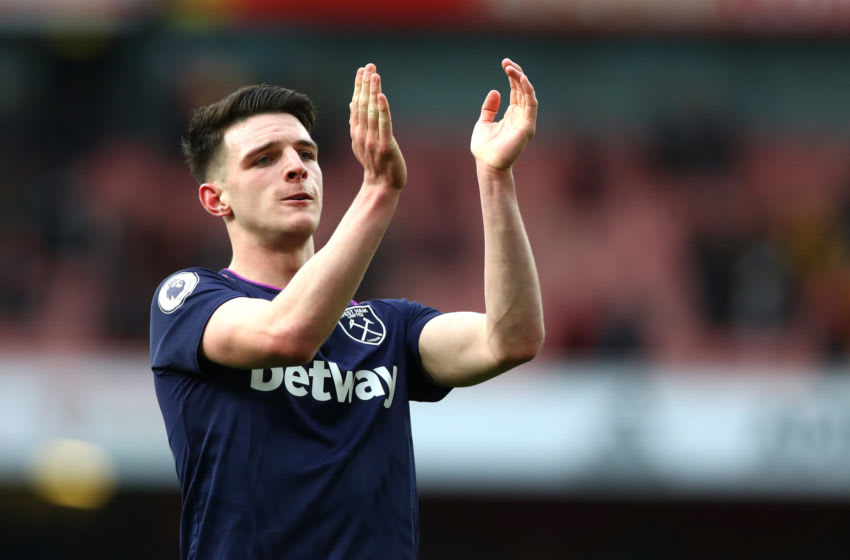 LONDON, ENGLAND - MARCH 07: Declan Rice of West Ham United applauds the fans after the Premier League match between Arsenal FC and West Ham United at Emirates Stadium on March 07, 2020 in London, United Kingdom. (Photo by Chloe Knott - Danehouse/Getty Images)