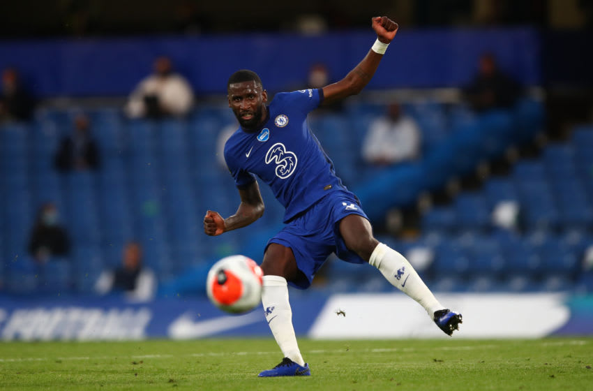LONDON, ENGLAND - JULY 14: Antonio Rudiger of Chelsea during the Premier League match between Chelsea FC and Norwich City at Stamford Bridge on July 14, 2020 in London, United Kingdom. Football Stadiums around Europe remain empty due to the Coronavirus Pandemic as Government social distancing laws prohibit fans inside venues resulting in all fixtures being played behind closed doors. (Photo by Marc Atkins/Getty Images)