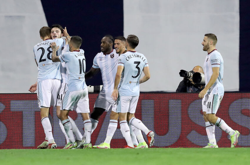 ZAGREB, CROATIA - SEPTEMBER 16: Declan Rice of West Ham United with teammates celebrating a goal during the UEFA Europa League group H match between Dinamo Zagreb and West Ham United at Maksimir Stadium on September 16, 2021 in Zagreb, Croatia. (Photo by Goran Stanzl/Pixsell/MB Media/Getty Images)