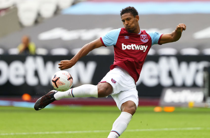 LONDON, ENGLAND - SEPTEMBER 05: Sebastien Haller of West Ham shoots during the pre-season friendly match between West Ham United and AFC Bournemouth at London Stadium on September 05, 2020 in London, England. (Photo by Julian Finney/Getty Images)